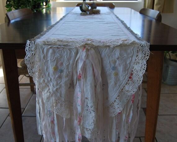 Running Through the Garden - Vintage Lace and Burlap Pastel Flower Cottage Wedding Table Runner OOAK FunkyJunkyArt