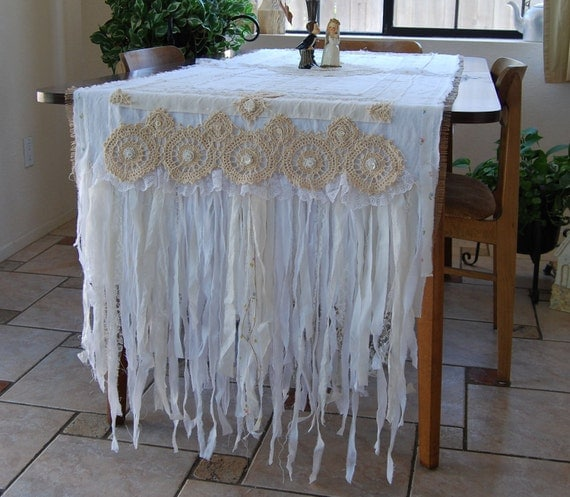 Always and Forever - Vintage Lace and Burlap Bride and Groom Large Table Runner