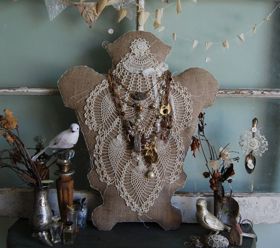 Victoria - Vintage Doily and Burlap Victorian Shabby Chic Cottage Jewelry Dress Form Style Display OOAK FunkyJunkyArt