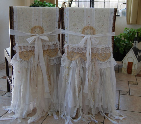 My Whole Heart - Vintage Lace and Burlap Farmhouse Shabby Chic Bride and Groom Chair Cover Set