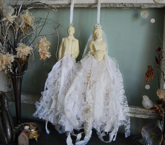 Goin to the Chapel - Abandoned Vintage Bits of Fabric and Lace Bride and Groom Wedding Shabby Chic Rag Tassel Set OOAK FunkyJunkyArt