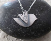 Love Bird Necklace modern peace dove in sterling silver