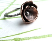 Flower Ring - organic bloom in copper and sterling silver