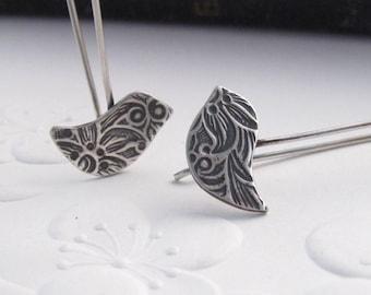 Little bird Drops - sterling silver earrings