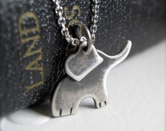 Baby Elephant Necklace - Sterling Silver Ellie - best friends good fortune