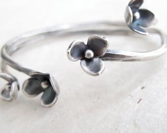 sterling silver blossom cuff bracelet - hand wrought flower cuff