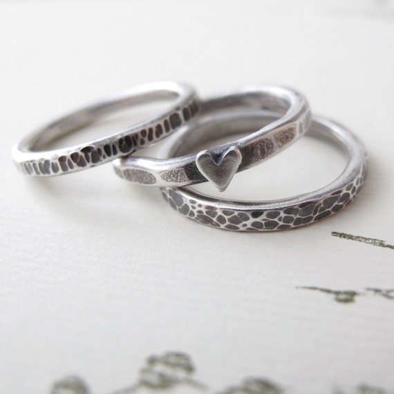 sterling silver Stacking Ring Set - heavy textured metalwork - tiny heart for love