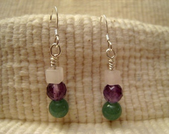 Earrings, Jade, Amethyst, Quartz
