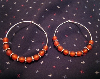 Hoop Earrings, Sterling Silver, Garnet