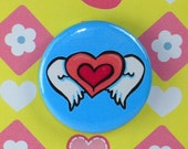 Winged Heart 1 Inch Badge