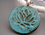 Shabby Chic Bleu Claire Lotus Pendant... symbol of beauty, strength, and challenge