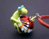 Nadine the Green Glass Frog Bead Necklace