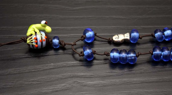 Dino the Glass Frog Bead Necklace on Leather with Blue