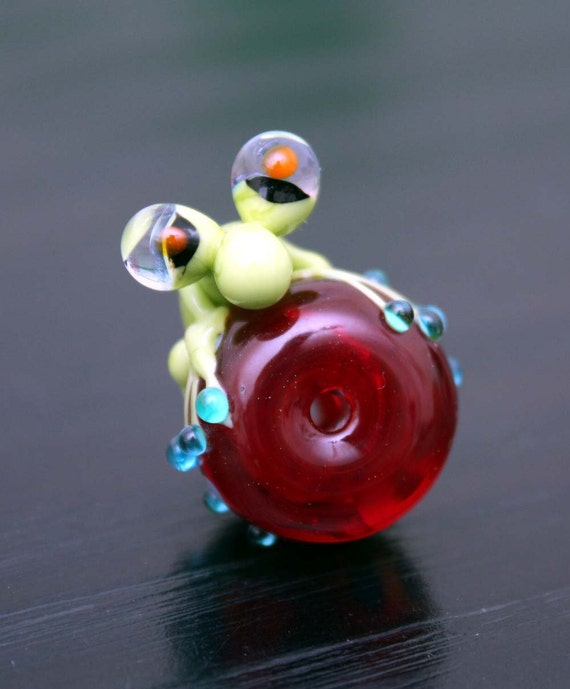 Reserved for KIM Seamus the Green Glass Frog Focal Bead