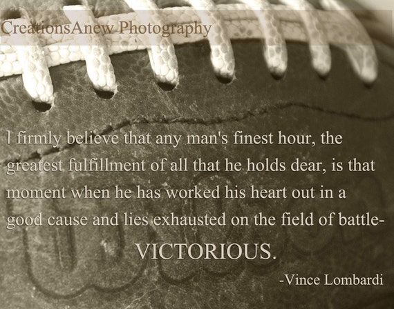 11x14 Photography Football In Sepia And Lombardi Quote