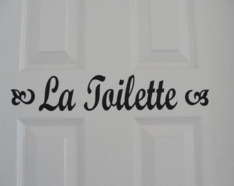 La Toilette vinyl door decal