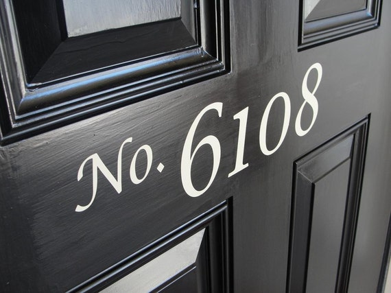 Front Door house numbers vinyl lettering