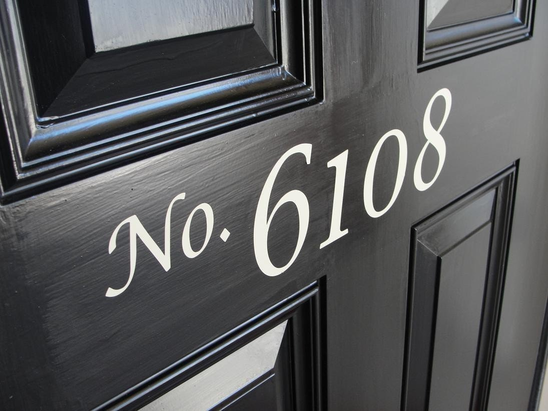 Front door house numbers vinyl lettering for Door vinyl design
