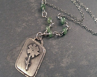Clarissa Necklace - Green Garnets and Sterling Silver