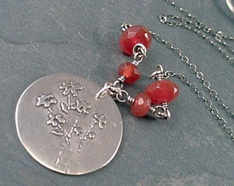 Bethany Necklace - Carnelian and Sterling Silver
