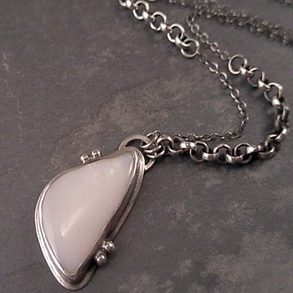 Helena Necklace - Opal and Sterling Silver