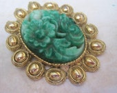 Vintage Hobe' Faux Jade, carved Peking Glass Brooch and or  Pendant, Stunning
