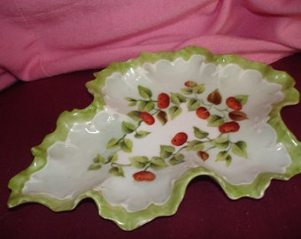 Vintage- Jewelry Storage- Ring Dishes -Home & Living - China Dish - Jewelry Dish - Hand-painted - Red Cherries  Sale was 19.25 now 17.25