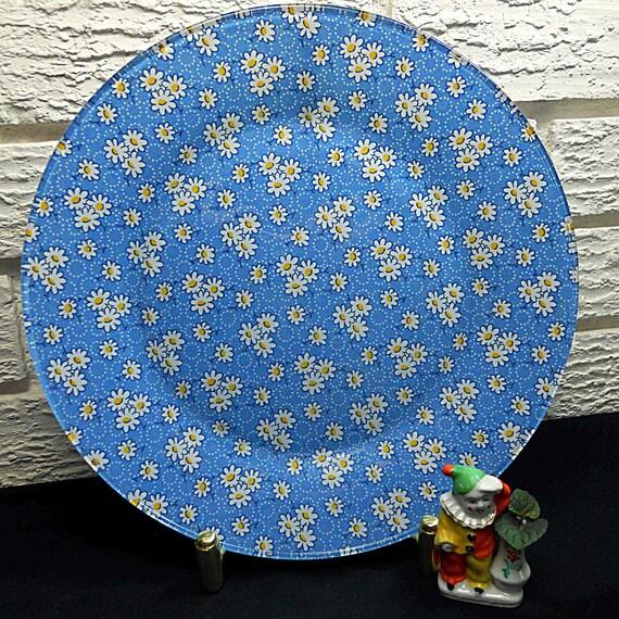 Blue Daisy Cotton Print Fabric Decorative Dinner Plate