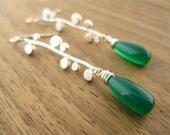 Bubbles and Teardrops Earrings - Green Chalcedony