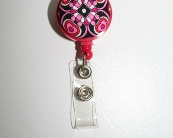 Badge Reel  ID Holder Retractable  HEARTS Chic and Colorful