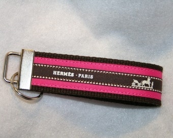 Vintage Hermes Ribbon Key Fob  Key Chain   Wristlet Key Holder HOT PINK