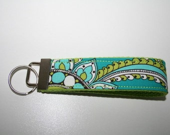 PEACOCK PLUMES Key Fob KeyChain Wristlet