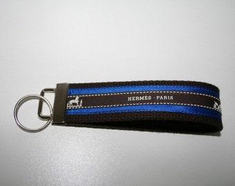 Vintage Hermes Ribbon Key Fob  Key Chain   Wristlet  Key Holder Brown and Royal Blue