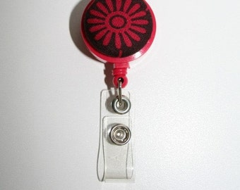 Red  Starburst  Retractable Badge Id Holder