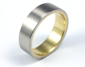White and Yellow Gold Wedding Band - Seamless