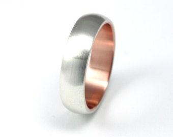 Silver and Rose Gold Wedding Band