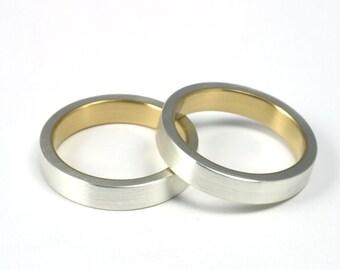 Silver & Gold - Wedding Ring Set