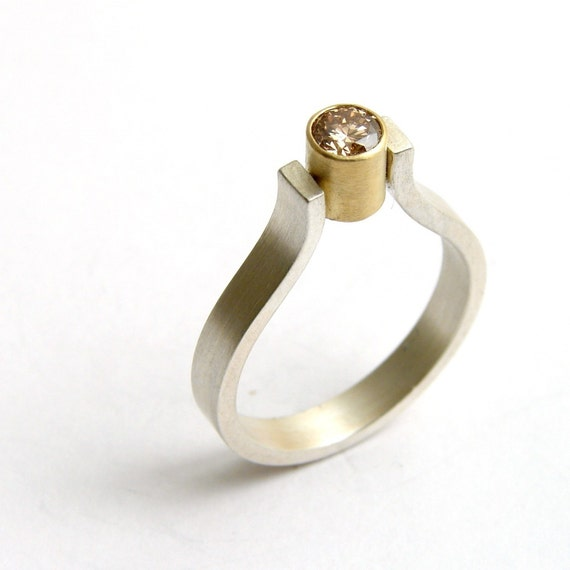 Silver and Yellow Gold .25ct Diamond Engagement Ring