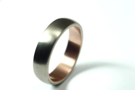 Men's White Gold and Rose Gold Wedding Band - Seamless