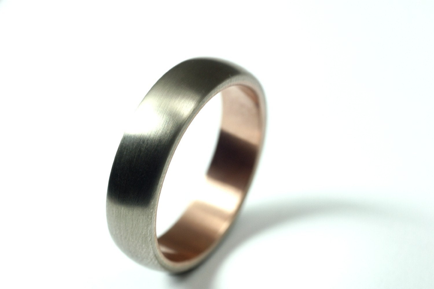 Mens White Gold And Rose Gold Wedding Band By JesseDanger