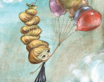 """8 x 10 Print of girl and bird floating away with balloons - """"The Journey"""""""