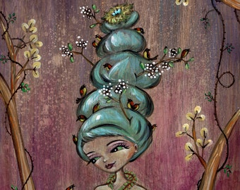 "Birds, Nature, Beehive Hair, Blue Hair, Print of Mother Nature - ""Nesting"""