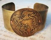 Fox Fire Antiqued Brass Cuff Bracelet Made To Order