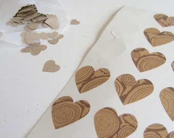 kraft logs mini heart stickers