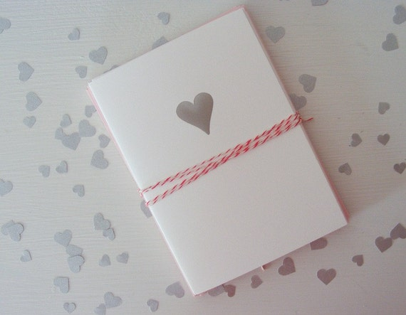 Silver Foil Stamped Heart Notecard Set - Folded