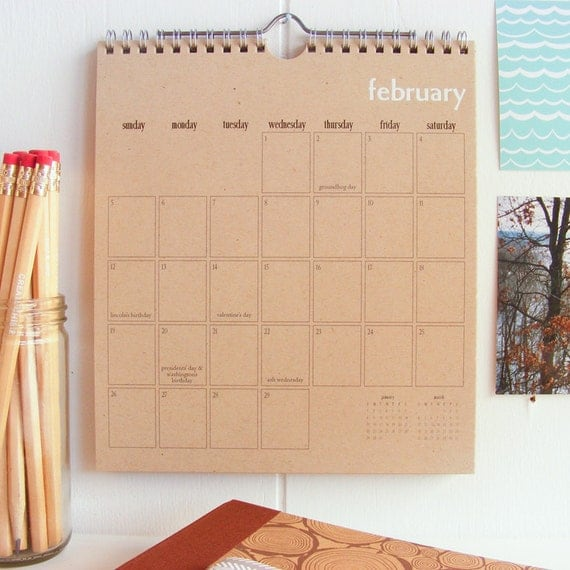 2012 Wall Calendar - White Foil Stamped on Recycled Kraft