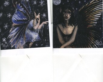 Set of two fairy notecards