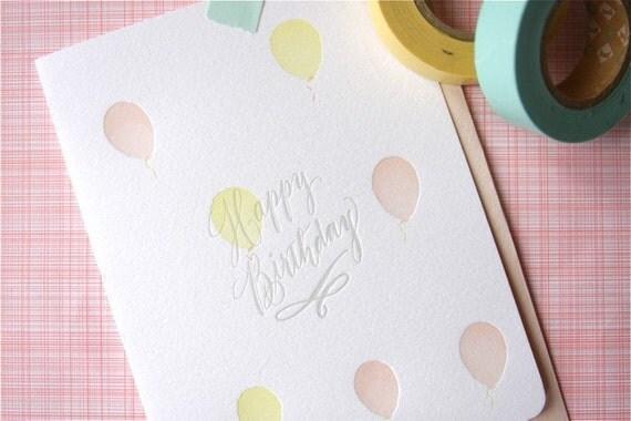 happy birthday balloons letterpress card