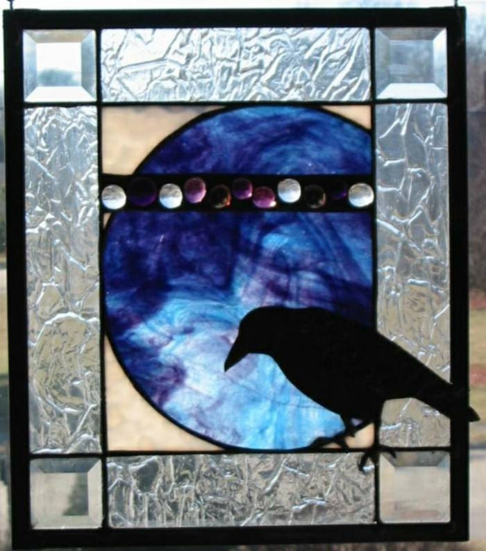 Nevermore Raven Stained Glass Pattern