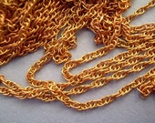 5 ft Vintage Brass Copper Color Rope Beading Chain